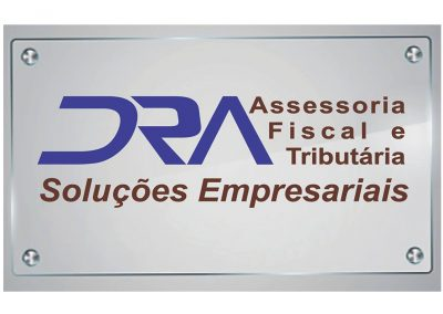 Placa em vidro com adesivo recorte DRA Assessoria